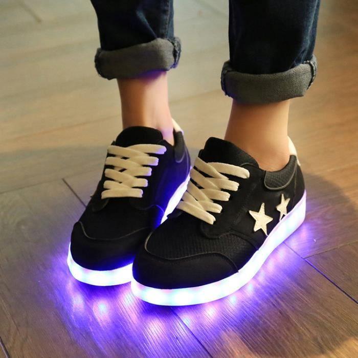 Noir Baskets Sports Lumineux Led Chaussures Femme gris Clignotants Usb Charge De Lumière 7qaxvzH