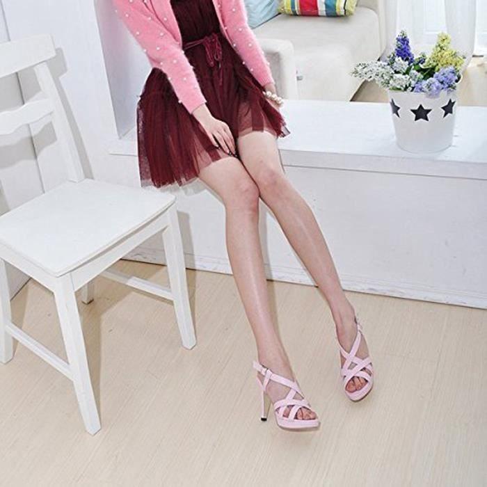 Minetom Femmes Ete Printemps Sandales Chaussons De Cheville Chaussures High Heel Bretelles Sandales Gladiator