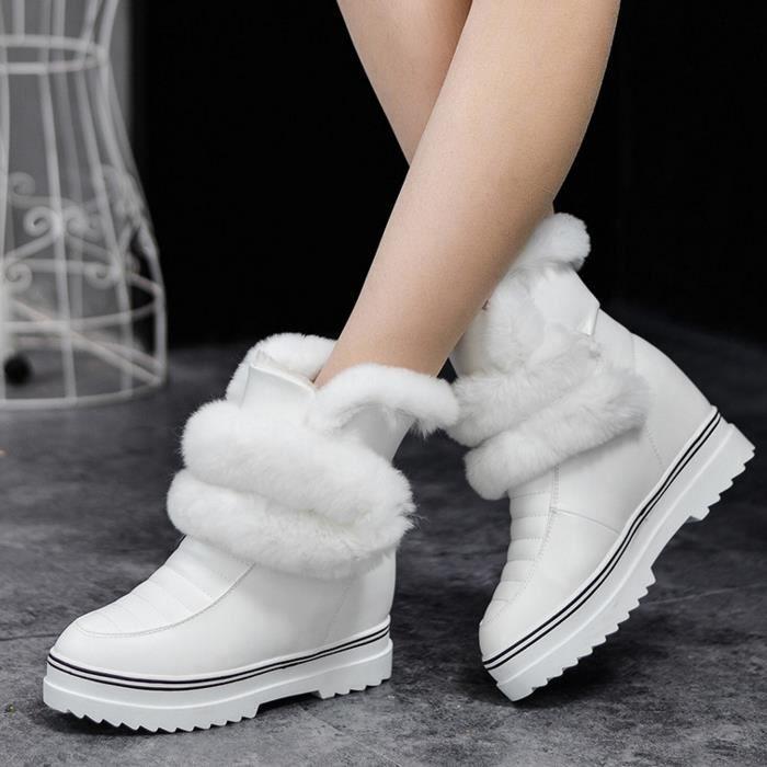 de chaud garder bottes neige hiver GLAM®Femmes bottes cheville de fourrure lapin P1wc5q