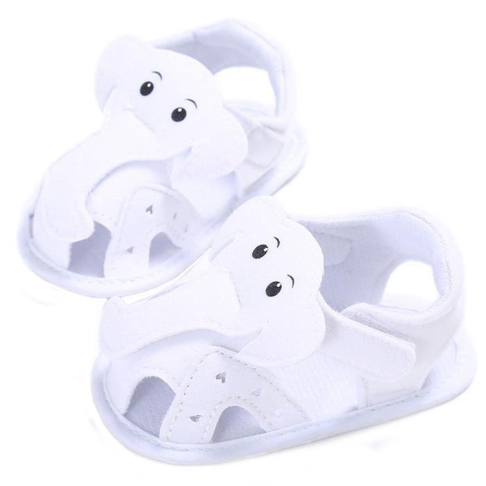 Frankmall®Bébé fille garçon Éléphant Semelle molle berceau enfant sandales nouveau-né chaussures BLANC#WQQ0926454 YmeutF
