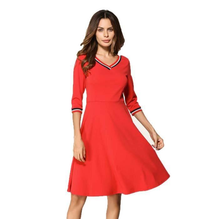 exquisgift®Femmes de mode trois quart dautomne V-cou longueur genou robe ROUGE~HBY70817257RDA