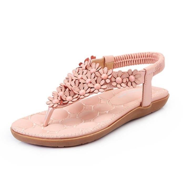 2017 Nouveau Douce Beauté Sandales Bohème Fleur Sandas Mode Chaussures d'été Femmes Souliers simple Sandales Taille 31-44,rose,36