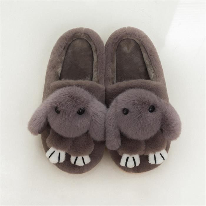 Lapins Chaussons Beau Plus De Cachemire Hiver chaud Coton Chaussure mode Homme Chausson Meilleure Qualité gris Grande Taille 42-45