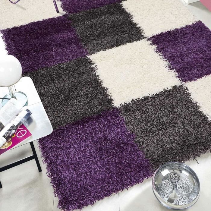 tapis salon norlaz gris violet 65x130 par unamourdetapis tapis moderne achat vente tapis. Black Bedroom Furniture Sets. Home Design Ideas