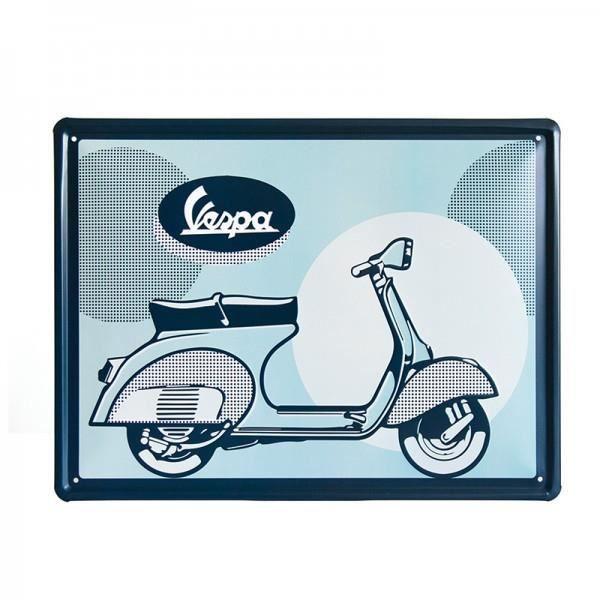 Metal Profil Bleu Vespa 40x30cm Plaque FJ3l1cTK