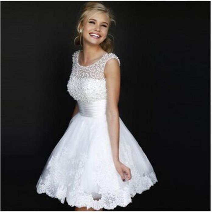 2016 Nouvelle mariée courte robes du mariées se...