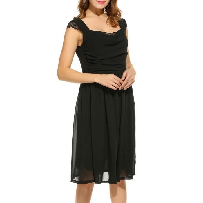 Robe plissée Femmes occasionnelles en mousseline de soie sans manches Patchwork carré cou a-ligne