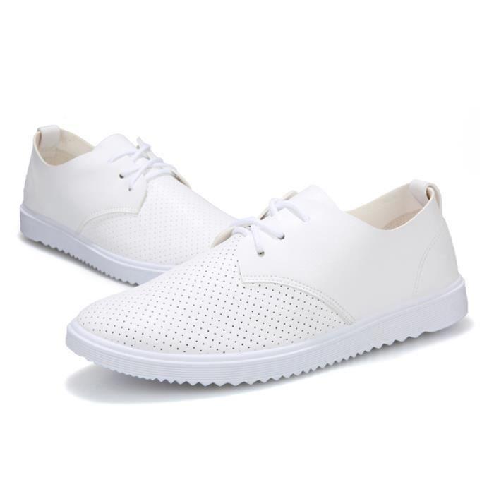 Printemps Occasionnels TYS Cuir Chuassures Chaussures Hommes Classique Ete XZ084Blanc42 qwExpZ6O