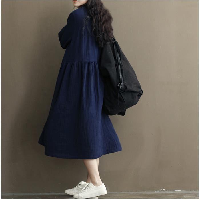 robe femmes mode de la nouvelle coréenne En vrac De lin manches longues Décontractée