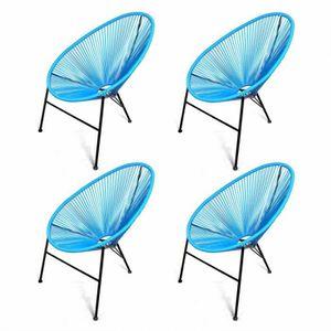 Pack 4 Chaises Acapulco Bleues 82 Cm Multicolor Achat Vente