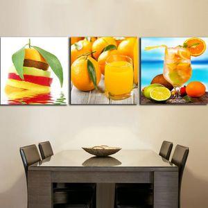 OBJET DÉCORATION MURALE 3 Panneaux Boissons Jus Orange Peintures Pour La C