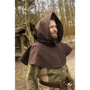 CAPE Cape courte marron avec capuche médiévale celtique