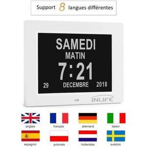 HORLOGE - PENDULE Horloge Calendrier Alzheimer,Calendrier Numérique