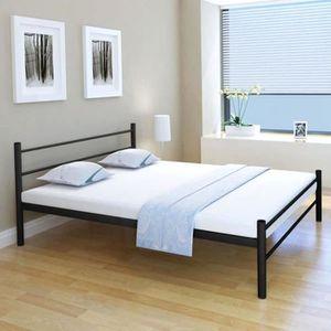STRUCTURE DE LIT Cadres de lit pour Adulte en Métal Noir 160 x 200
