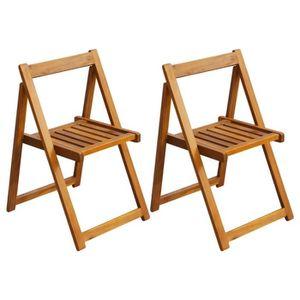 SALON DE JARDIN VidaXL Chaise Pliante Dextrieur 2 Pices Bois D
