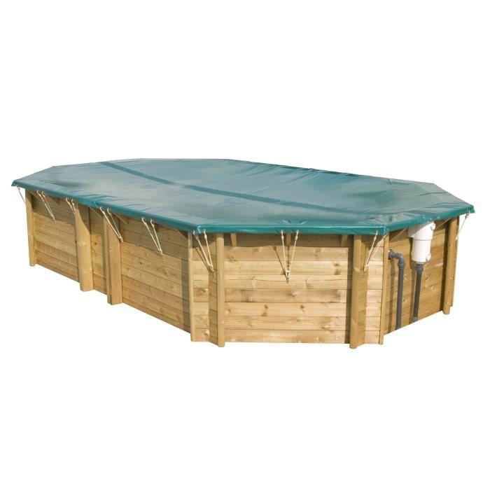 Couverture hiver sécurité pour piscine bois 8x4 m