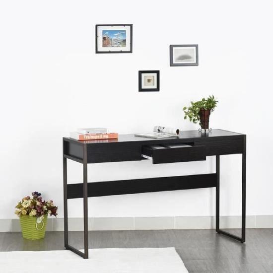 furniturer console table de bureau d 39 ordinateur bureau informatique avec tiroir noir en bois. Black Bedroom Furniture Sets. Home Design Ideas