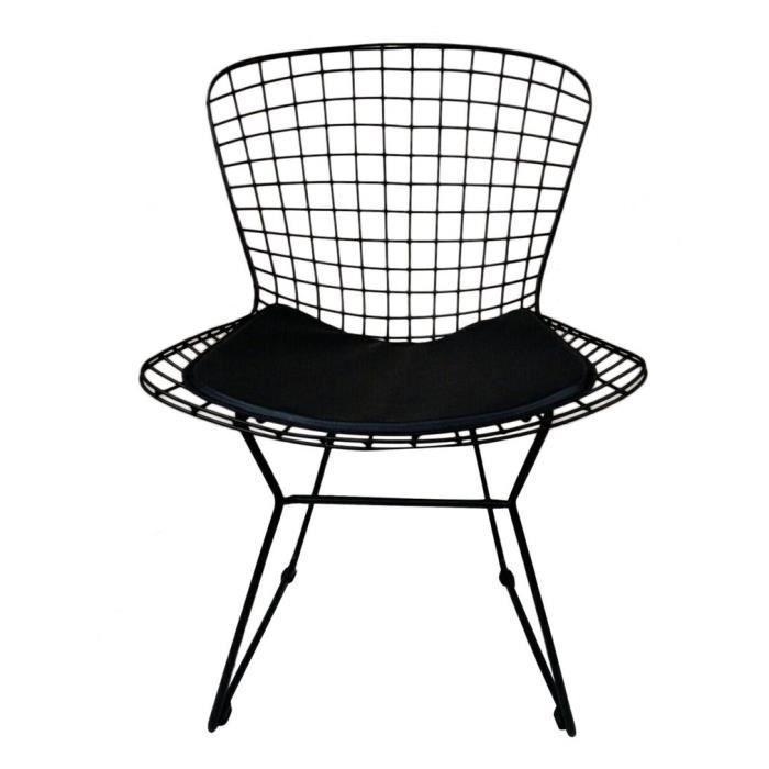 Fauteuil Style Bertoia Diamond Wire Chair Avec Coussin Noir Ou Blanc