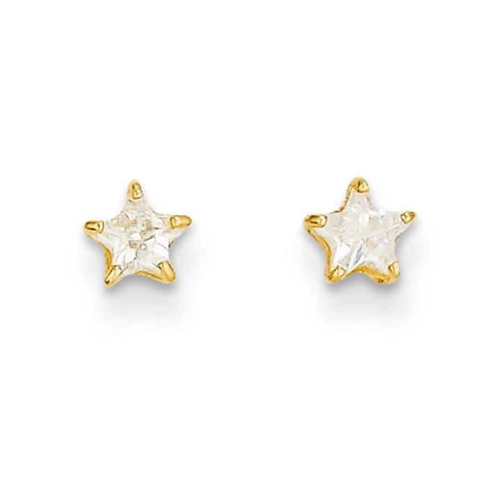 Boucles doreille clous doreille étoile zircon cubique 14ct 4 mm