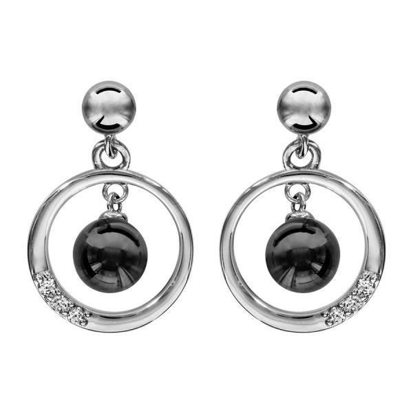 Boucles doreilles Argent 925 Cercle avec Zirconium Sertis + Boule Céramique Noire