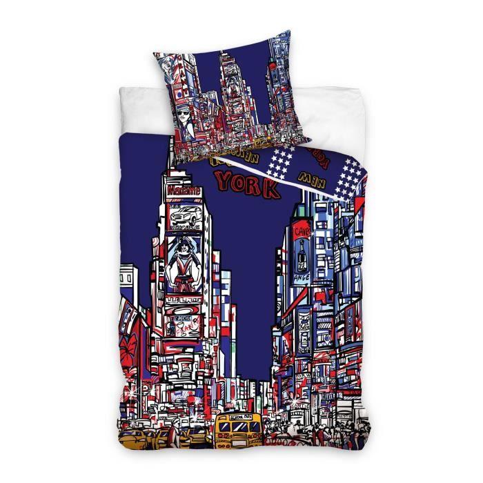 linge de lit new york coton achat vente pas cher. Black Bedroom Furniture Sets. Home Design Ideas
