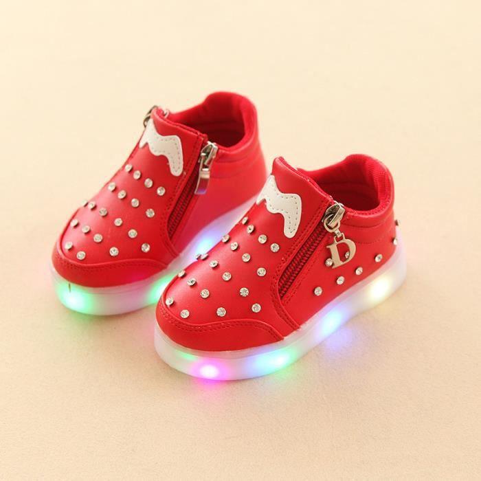 Baskets Enfants chaussures filles Bébé LED lumières Chaussures de sport