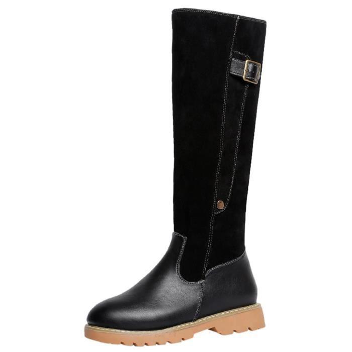 Kanyrne Chaudes Gardez Chaussures Carré Bottes Femmes Zipper En Toe Rondes Noir Cuir Talon De Neige qS0Crxq