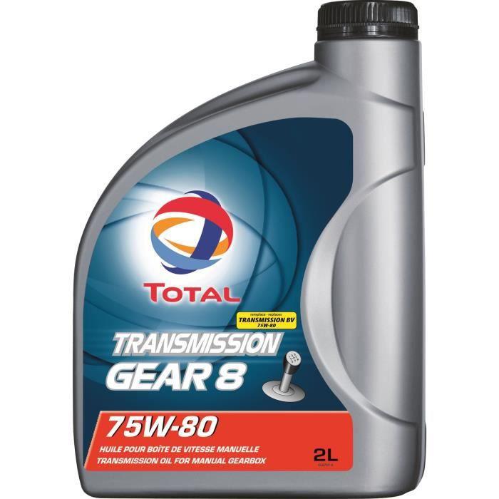 HUILE MOTEUR TOTAL Transmission lubrifiant Gear 8 75w80 - 2 L