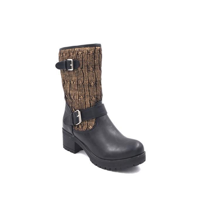CHIC NANA . Chaussure femme botte en PU, tricot épais tour de cheville.