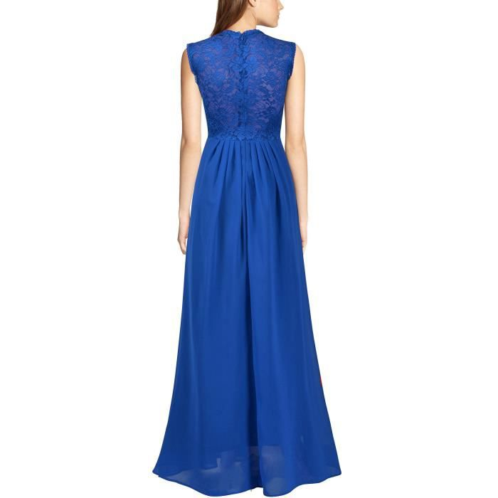 Womens Vintage Chiffon Lace Party Wedding Fromal Gown Dress 2QFPBX Taille-36