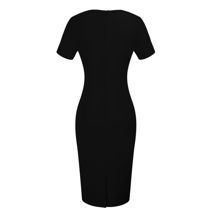 Longueur du genou élégant col rond manches courtes moulante pour femmes porter au travail Robe B389 2XT90F Taille-34