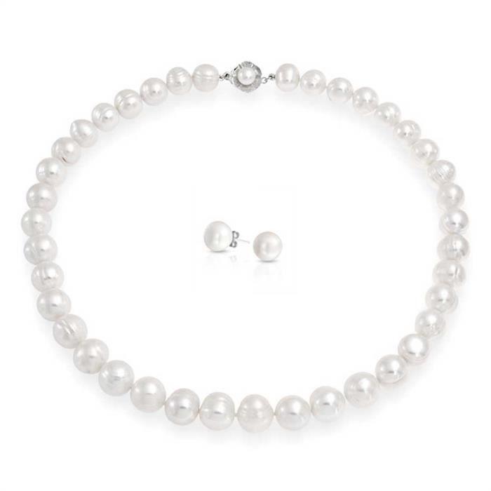 Bling Jewelry Eau douce nuptiale de pommes de terre cultivées Pearl Necklace oreille défini