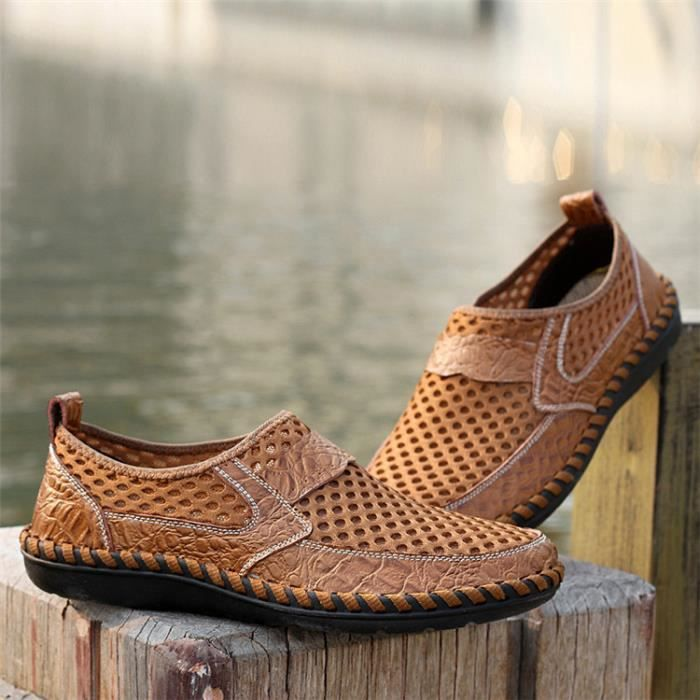 AEQUEEN Mocassin Maille PU Cuir Respirable Homme WungI