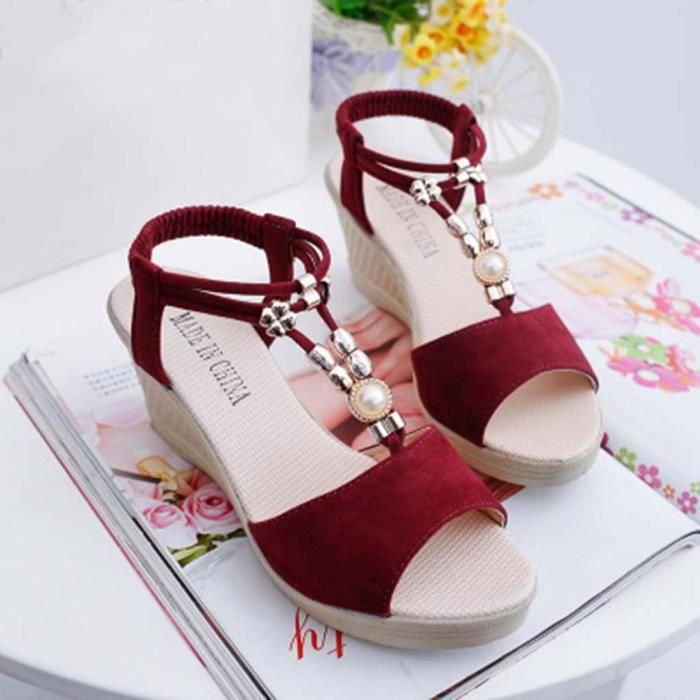 7914 Bead Chaussures Compenses Sandales Cordes Femmes Romaines Veberge Mode wUx8qz