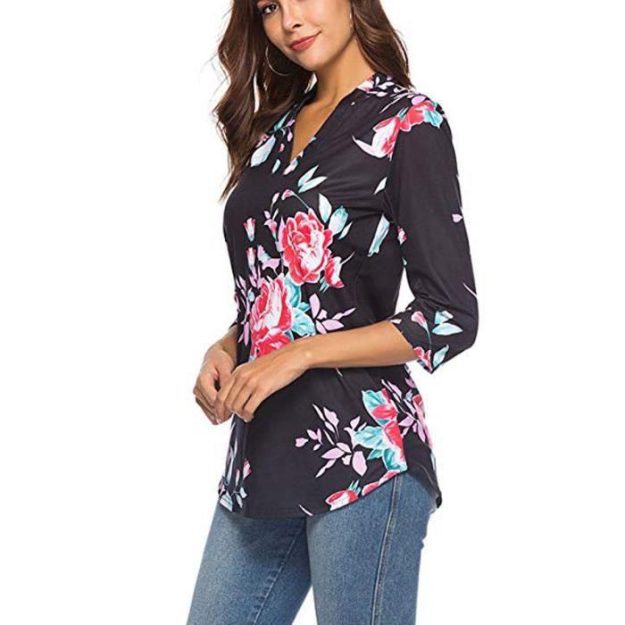 quarts neck Trois Zwy6134 Style Imprimé Manches shirt Confor® Mode Floral T Féminine Ethnique De V Top wxqpZwYXtg