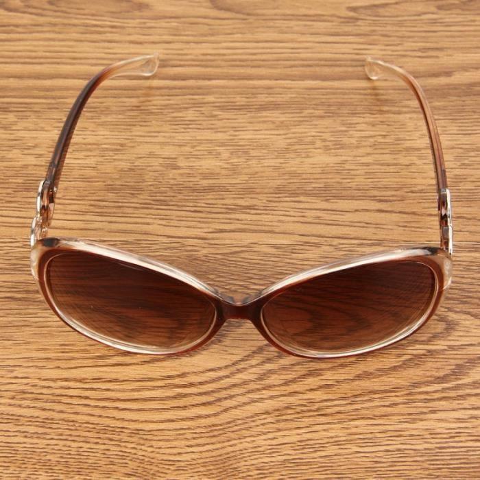 Lunettes pour femme Rétro UV400 Protection UV Frame PC AC Lens de soleil café