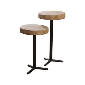 TABLE BASSE Ensemble de 2 tables d'appoints rondes avec trépie