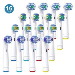 BROSSE A DENTS ÉLEC 16Pack têtes de brosse à dents Oral B, têtes de re