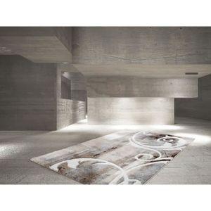 TAPIS DELADECO - Tapis taupe moderne pour salon Gladys -