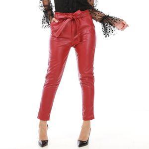 cc89fca590df PANTALON Pantalon rouge foncé en simili cuir avec ceinture-