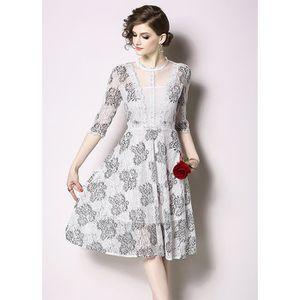 6660720510438 ROBE dentelle robe longue femme à moitié manche fleur b