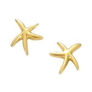 Femme Boucles doreilles étoile de mer 18 carats plaqué or jaune avec cristaux blancs de Swarovski