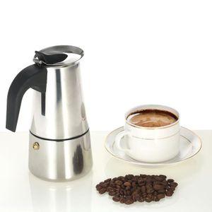 MACHINE À CAFÉ 200ml 4-Cup Machine à expresso en acier inox Perco