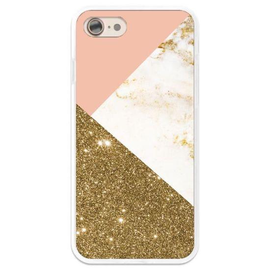 coque iphone xr marbre rose glitter