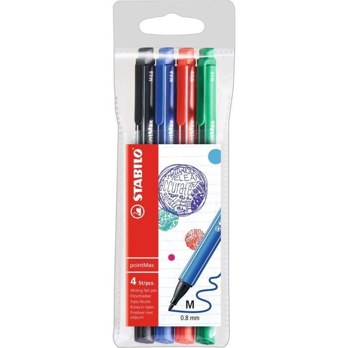 STABILO Pochette x 4 stylos-feutres pointMax