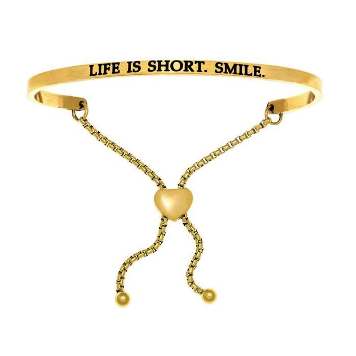 Womens Intuition Stainless Steel Yellow Finish life Is Short.smile.adjustable Friendship Bracele C5T14