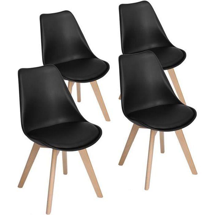 chaise lot de 4 chaise de salle a manger scandinave desig - Chaise Scandinave Rembourree