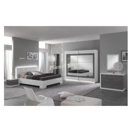 Chambre à coucher compléte ANCONA(blanc-gris) - Achat / Vente ...