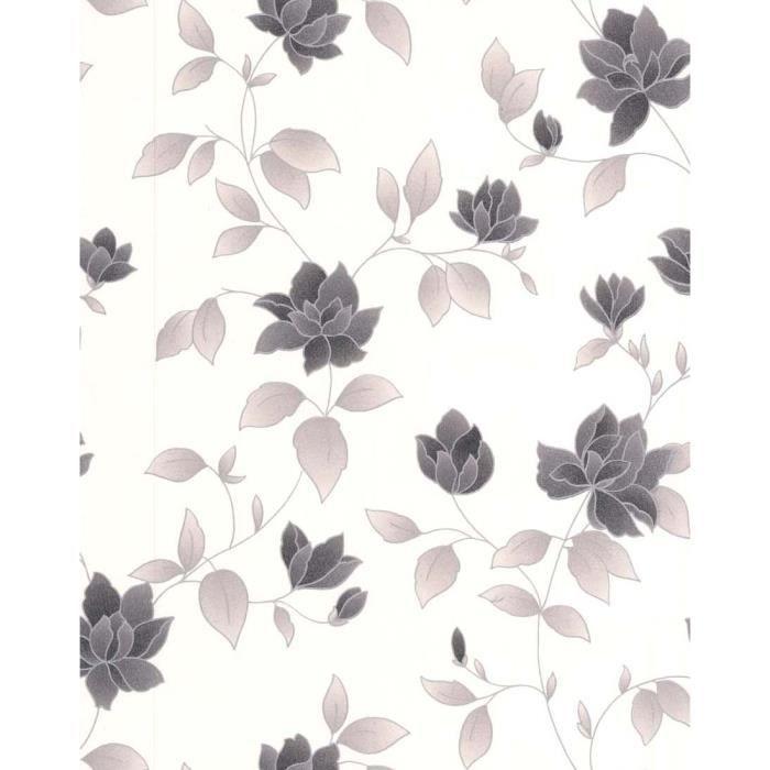Papier Peint Vinyl Lourd Intisse Amy Blanc Noir 52cm X 10 05m