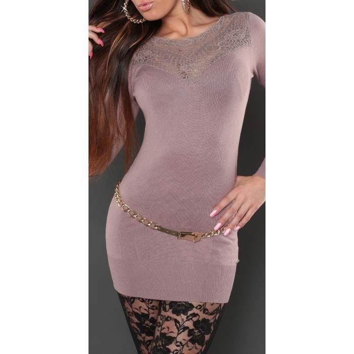 Mini Long Sexy Pull Nouvelle Haut Broderie Marron Collection Femme Robe 5HwwOdCq